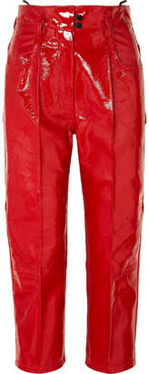 Petar Petrov Cropped Patent-leather Straight-leg Pants - Crimson