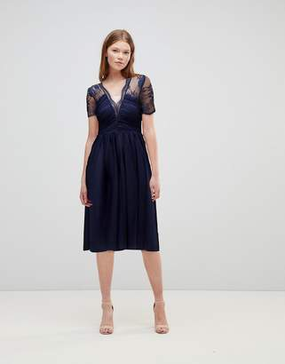Asos Design Lace Top Midi Dress With Ruched Bodice