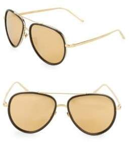Linda Farrow Luxe Contrast Trim 59MM Aviators Sunglasses