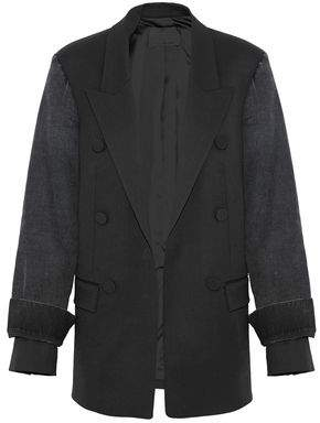 Alexander Wang Denim-Paneled Wool-Blend Blazer
