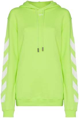 Off-White Diagonal stripe-print cotton hoodie