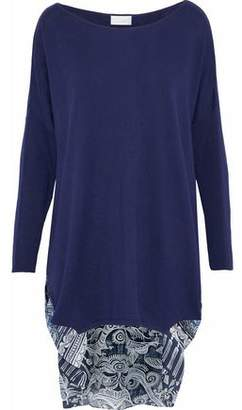 Camilla Small Town Hero Embellished Printed Silk-Paneled Cotton-Blend Top