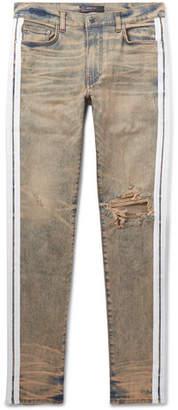 Amiri Track Stack Skinny-Fit Striped Distressed Stretch-Denim Jeans