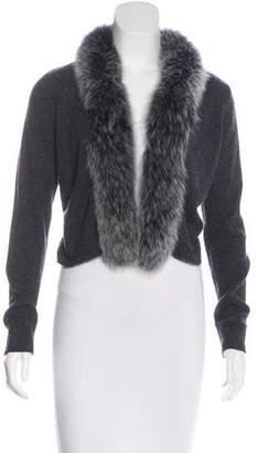 Neiman Marcus Fox-Trimmed Cashmere Cardigan