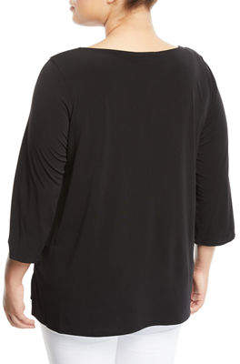 Iconic American Designer 3/4-Sleeve Hardware-Top Blouse, Plus Size