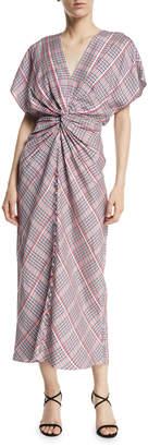 Prabal Gurung Jackie Twist-Front Plaid Dress