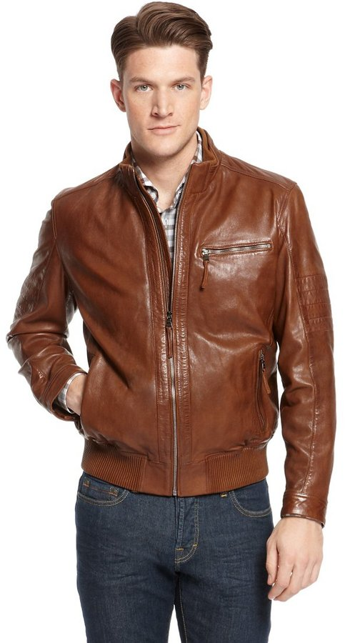 HUGO BOSS 'Gilles' | Stand Collar Leather Jacket by BOSS