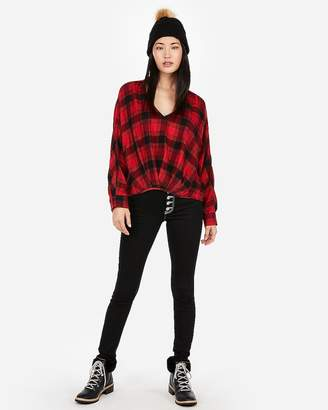 Express Red Plaid Flannel Deep V-Neck Top