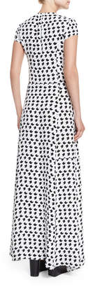 Derek Lam Short-Sleeve Crescent-Print Gown, White/Black