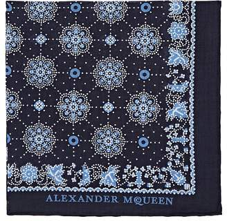 Alexander McQueen Men's Skull-Medallion-Print Cotton Pocket Square