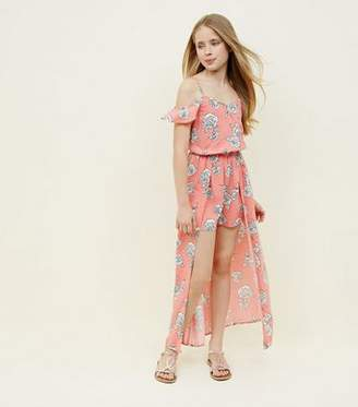 New Look Teens Pink Rose Print Dip Hem Maxi Playsuit