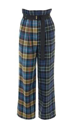 Tibi Tartan Stella Wide Leg Paperbag Pants with Removable Belt