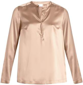 Brunello Cucinelli Stretch-silk beaded blouse