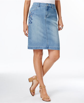 Style & Co Embroidered Denim Skirt, Only at Macy's $54.50 thestylecure.com