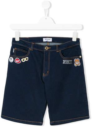 Moschino Kids patched denim bermuda shorts
