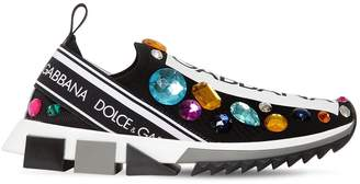 Dolce & Gabbana 30mm Logo & Crystals Knit Sneakers