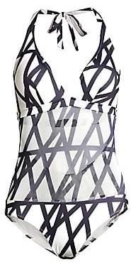 Vilebrequin Women's Fauve Graphic Halter One-Piece Swimsuit