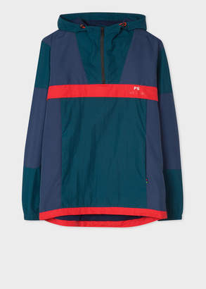 Paul Smith Men's Navy And Red Showerproof Anorak With Contrast Panels