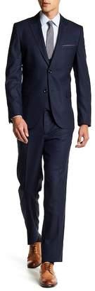 Ron Tomson Navy Solid Peak Lapel Double Breasted Vest 3-Piece Suit