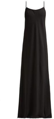 The Row Ebbins Spaghetti Strap Long Slip Dress - Womens - Black