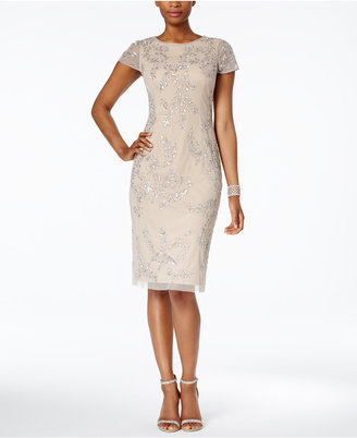 Adrianna Papell Embellished Tea-Length Dress $249 thestylecure.com