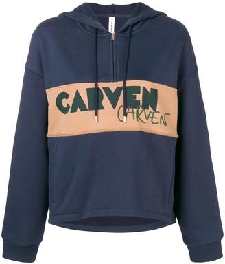 Carven logo patch half zip hoodie