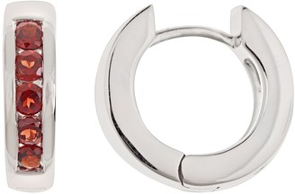 Sterling Silver Garnet Hinged Hoop Earrings