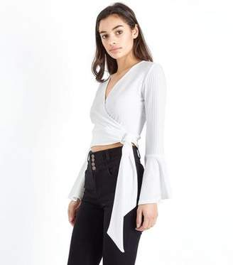 New Look Petite Off White Wrap Front Ribbed Crop Top