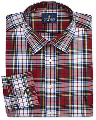 STAFFORD Stafford Tartan Trend Easy-Care Stretch Big And Tall Long Sleeve Woven Pattern Dress Shirt