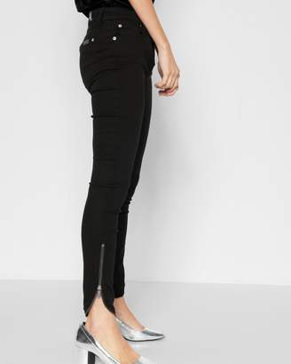 7 For All Mankind B(air) Denim Ankle Skinny with Tulip Zipper Hem in Black