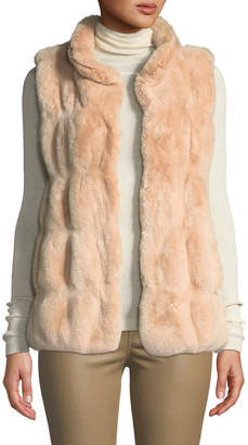 Fabulous Furs Couture Faux-Fur Stand-Collar Vest