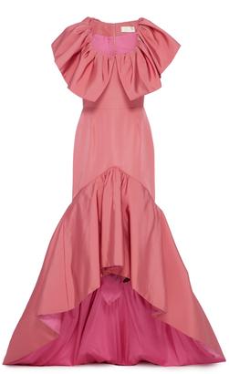 High Low Flounce Silk Faille Gown