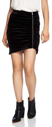 1 STATE 1.STATE Velvet Zip-Front Mini Skirt
