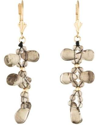 14K Smoky Quartz Drop Earrings