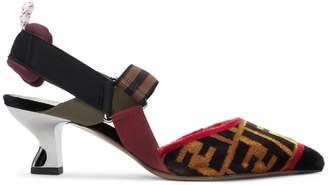 Fendi Multicolor Velvet Forever Slingback Heels