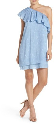 Women's Charles Henry One-Shoulder Ruffle Shift Dress $98 thestylecure.com
