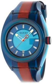 Gucci Sync Stainless Steel Striped Rubber Watch