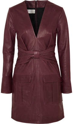Victoria Beckham Victoria, Bow-detailed Leather Mini Dress - Burgundy