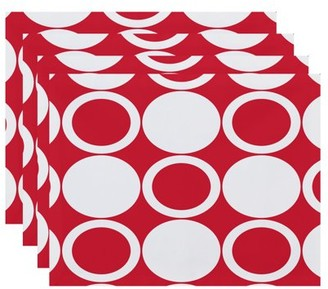 Simply Daisy, 18 x 14 inch, ModCircles, Geometric Print Placemat (Set of 4), Red