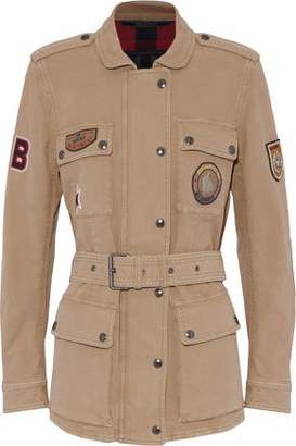 Belstaff Belted Appliquéd Cotton-Blend Canvas Jacket