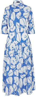 Piazza Sempione Floral Belted Midi Dress