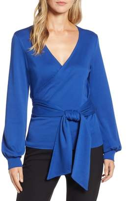 Halogen Tie Front Faux Wrap Top