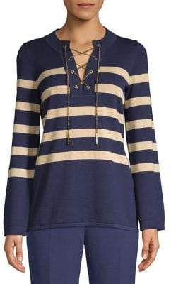 MICHAEL Michael Kors Laced Chain Striped Tunic