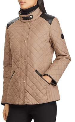 Ralph Lauren Faux Leather Tab Quilted Jacket