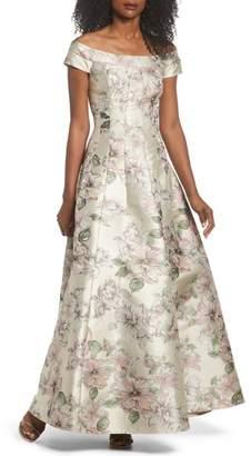 Eliza J Floral Jacquard Off the Shoulder Ballgown