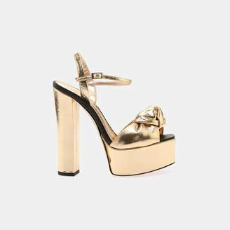 Giuseppe Zanotti Metallic Leather Block Heel Sandal