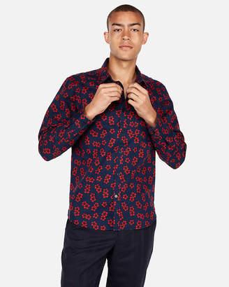 Express Slim Floral Linen-Blend Shirt