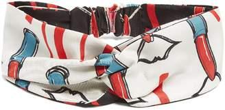 Valentino Lipstick-print silk-twill headband