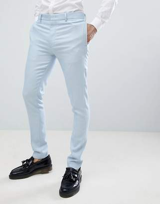 Asos DESIGN wedding super skinny suit pants in ice blue micro texture