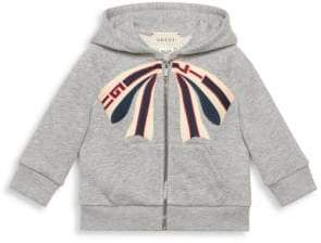 Gucci Baby Girl's Bow Embroidered Zip-Up Sweatshirt - Grey - Size 9-12 Months